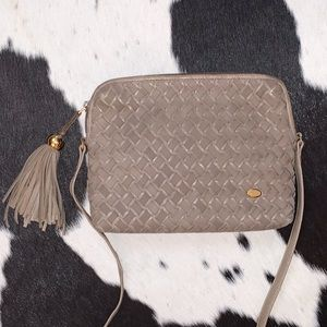 Vintage Bally woven suede leather crossbody purse